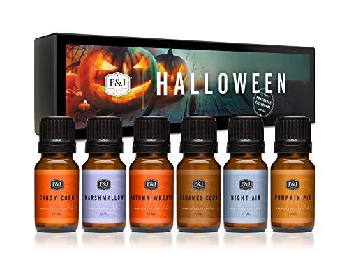 Halloween Set of 6 Premium Grade Fragrance Oils - Autumn Wreath, Pumpkin Pie, Candy Corn, Marshmallow, Night Air, Caramel Corn