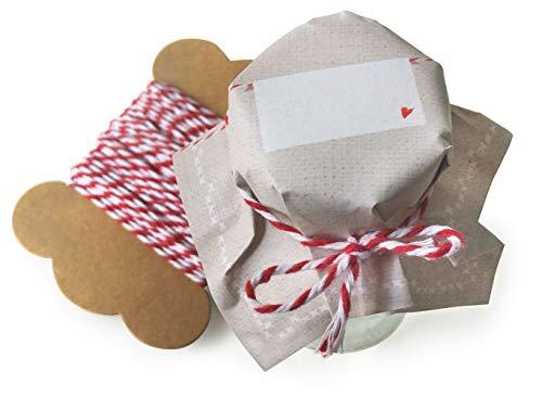 25 Mini Marmeladendeckchen Beige, Gläserdeckchen zum selbst beschriften für selbstgemachte Marmelade, kleine Marmeladengläser & Einmachgläser, Recyclingpapier Abreißblock + 10 m Garn + Justiergummi