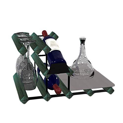GJJSZ Kreative Weinregal Display Hängetasse Mit Kater Tisch multifunktions Rack Massivholz Weinregal41,5 × 30 × 22,5 cm (Farbe: Antik schwarz)