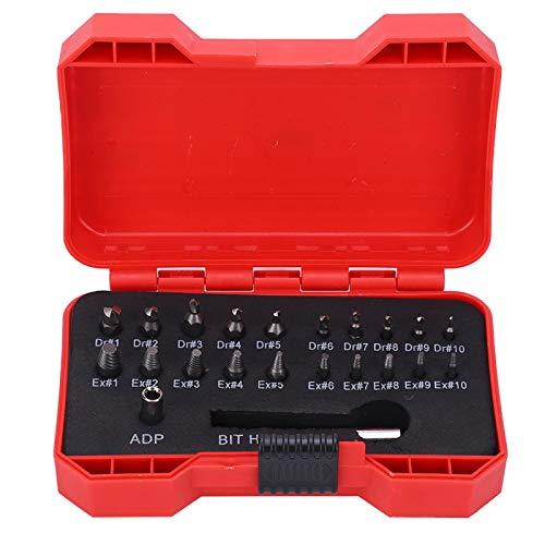 Juego de extractor de tornillos de 22 piezas, kit de herramientas de extracción de tornillos rotos dañados, herramientas manuales, extractor de tornillos extractor de tornillos dañado