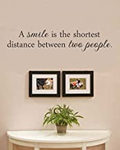 A smile is the shortest distance between two people Vinyl Wall Decals Quotes Sayings Words Art Decor Lettering Vinyl Wall Art Inspirational Uplifting