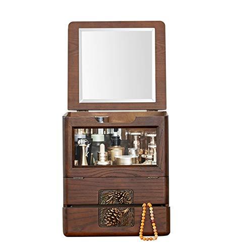 YQCH Caja de joyería Retro Pino High-End Solid Wood Caja Collar, Pendientes y Pulsera Caja de Almacenamiento