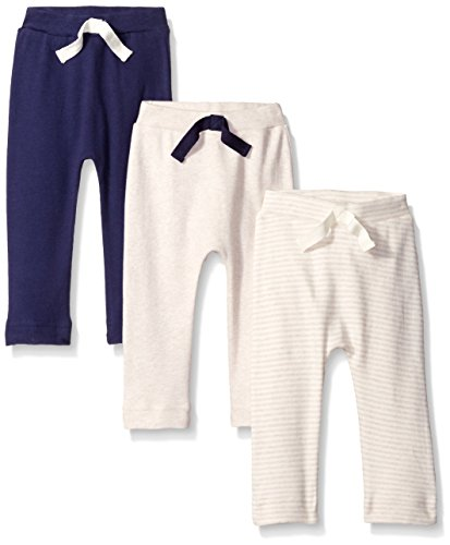 Touched by Nature Baby Organic Cotton Pants 3-Pack, Oatmeal/Navy, 6-9 Months