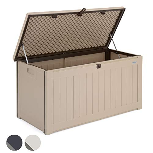 CHRISTOW Plastic Garden Storage Box, Waterproof Outdoor Utility Container, Furniture Cushion Tool Toy Chest, Lockable Lid, 190L Capacity