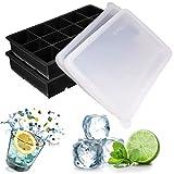 Dokpav 2pcs 3. 3 * 3. 3cm- bandeja de cubitos de hielo con tapa, bandeja del cubo de hielo, bandejas para hielo silicona, moldes de silicona para hielo, bandeja de hielo, molde para hielos, sin bpa