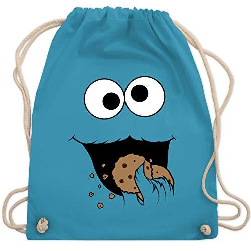 Shirtracer Karneval & Fasching - Keks-Monster - Unisize - Hellblau - beutel rucksack mit namen - WM110 - Turnbeutel und Stoffbeutel aus Baumwolle