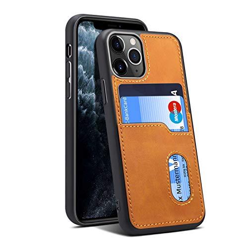Funda con clip para iPhone 12 Pro, funda de piel fina, funda protectora iPhone 12 Pro, con 2 ranuras para tarjetas, color marrón, 12 Pro