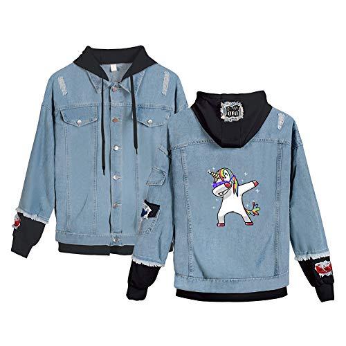 Einhorn Jacke Zweifarbig Damen Used Look Jeansjacke 2 in 1 Patchwork Vintage Denimjacke Hip Hop Jeansmantel mit Kapuze Sweatjacke Old School...