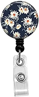 Pretty Daisy Floral Print Badge Reel, Retractable Name Card Badge Holder with Alligator Clip, 24in Nylon Cord, Medical MD RN Nurse Badge ID, Badge Holder, ID Holder, Office Employee Name Badge