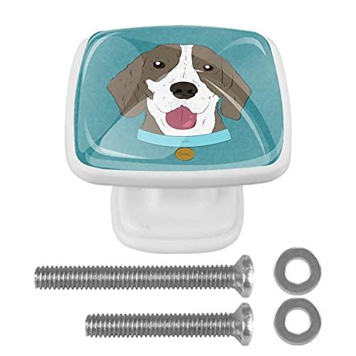 Hipster Monocle Pajarita de perro para gabinetes de cocina, paquete de 4 pomos redondos de cristal para cajones de cocina con tornillos, gabinete de cristal con tornillos en casa oficina