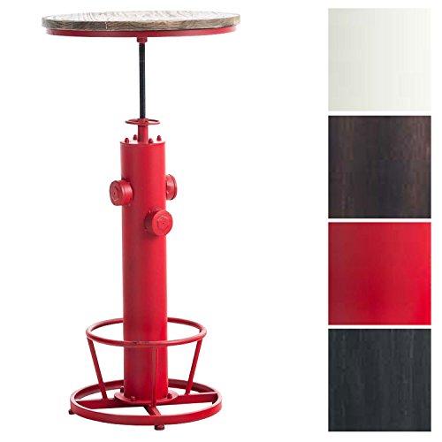 CLP Stehtisch RUHR mit massiver Tischplatte (Kiefernholz) und Metallgestell | Bartisch mit Fußablage im Industrial-Look | In verschiedenen Farben erhältlich Rot