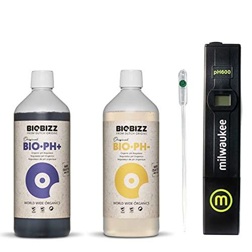IVORYS-GARDEN Kit Set BioBizz pH - Minus 250ml Senker + pH Plus 250ml Heber flüssig + Milwaukee pH Wert Messgerät digital für Pflanzen Pool pH-Tester Wassertester Messer Regulator Indoor Outdoor