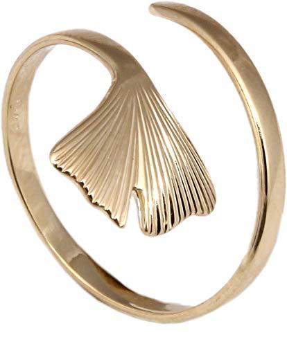 Ring Ginkoblatt Ginkgo 375 Gold 9kt Ginkgoblatt Ginko Qualität Unisex Gelbgold