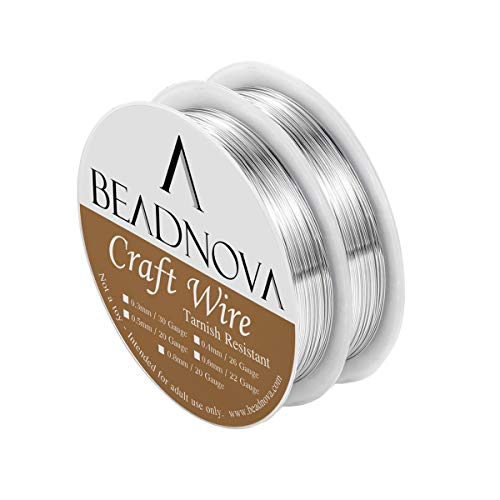 BEADNOVA Bare Copper Wire Tarnish Resistant Jewelry Making Wire (Silver Plated,22 Gauge)
