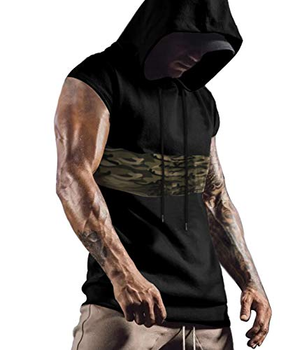 Men's Gym Workout Hooded Tank Tops Muscle Cut Off Sleeveless T Shirts Black XL