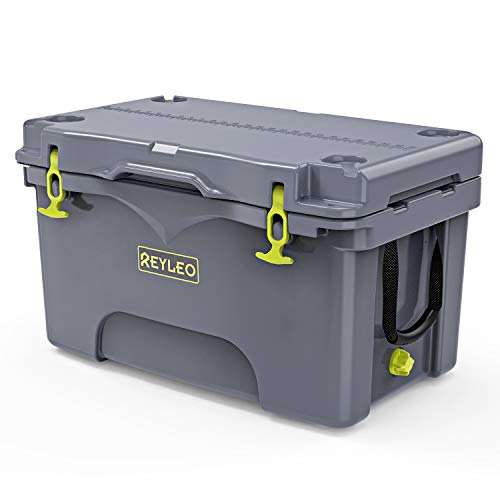 REYLEO 52-Quart Rotomolded Camping Cooler, Heavy-Duty Ice Chest, Keeps Ice Up to 4 Days, with Fish Ruler/Tie-Down Points, for...