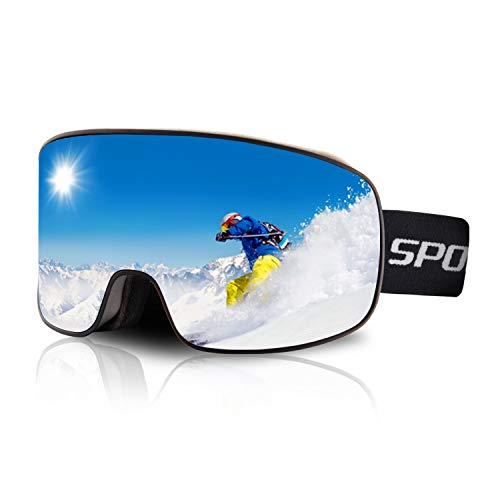 DUDUKING Skibrille Anti-Fog Snowboardbrille Doppel-Objektiv OTG UV-Schutz Winddicht Schneebrille Helmkompatible Ski Goggles für Damen Herren