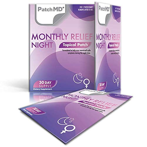 PatchMD - PMS Night Topical Patch - Natural Night time Relief of Premenstrual Syndrome - eases Tension, Cramps, Bloating & Irritability - 30 Day Supply