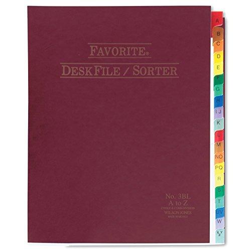 Wilson Jones Favorite Desk File/Sorter, A-Z Index, 10 x 12 Inches, Burgundy (WCC3C)