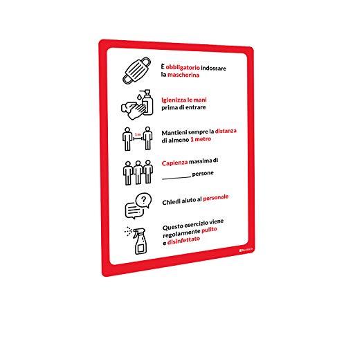 Adesivi e Cartelli Covid-19 Segnaletica con regole di sicurezza e comportamento adesivo PVC e pannello Forex (Adesivo PVC lucido, A3 tipologia 3)