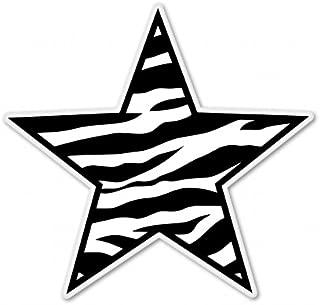 Zebra Print Star White Vinyl Sticker - Car Window Bumper Laptop - SELECT SIZE