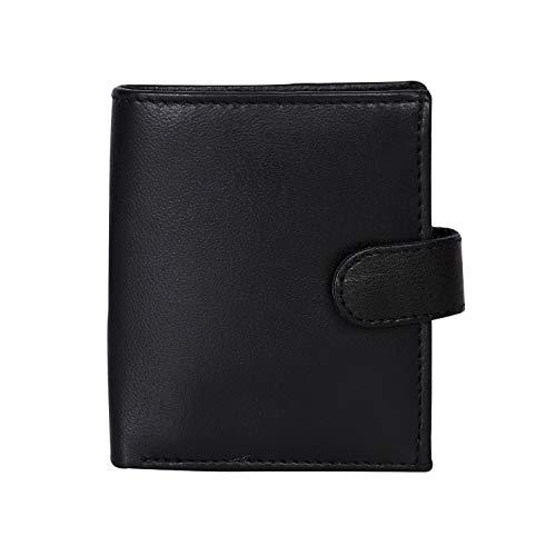 RAS WALLET Mens vera pelle RFID blocco borsa con 1 tasca ID finestra e portamonete 360 (nero)