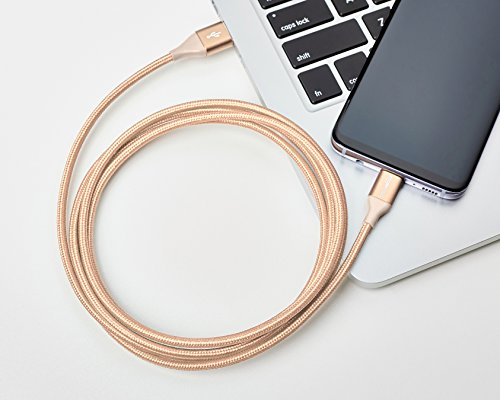 Amazon Basics - Verbindungskabel, USB Typ C auf USB Typ A, USB-2.0-Standard, doppelt geflochtenes Nylon, 1,8 m, Gold