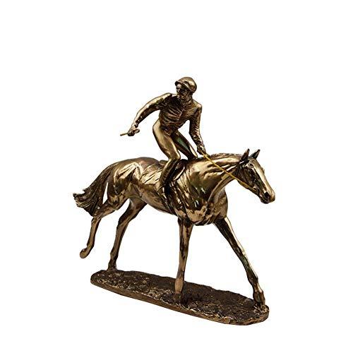 Caballo de Carreras galopante Escultura de Jinete Artesanía de Resina de Bronce Fundido en frío Estatua de Carreras de Caballos Estatuilla Estilo Europeo y Americano Jinete Solo Caballo Esta