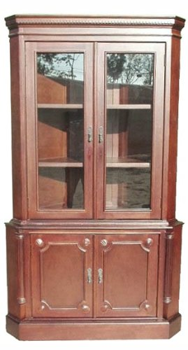 D-Art Corner Cabinet 2 Door Curio in Mahogany Wood
