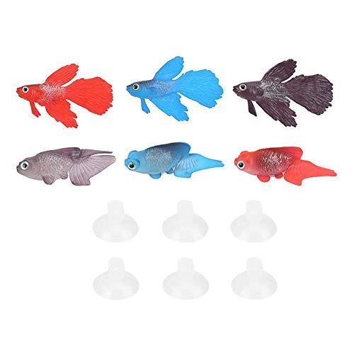 Oyunngs 6PCS künstlicher Fisch, künstlicher Silikon-Simulationsfisch, für Aquarium Aquarium Landscape Decor