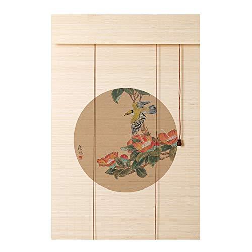 YJFENG 70% Apagón Persianas Enrollables De Bambú, Cortina Colgante con Tonos De Impresión Pantalla Retro, Planta Natural Pura Respetuoso del Medio Ambiente, para Gazebo, Patio