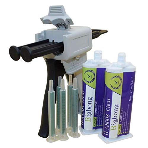 Bigbong 1:1 Dispensing Gun Manual Applicator Adhesive Dispenser & 5pcs Static Mixing Nozzles Mixed Tips & 2pcs 50ml Epoxy Adhesives Glue 2-part Quik Cure Epoxy Glue for Stone Metal Tile Wood Marble