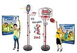 StrMy Canestro Basket, 73/150 CM Canestro Bambini con Set Arciere Arco Freccia Bersaglio Altezza Regolabile con Accessori e piantana per Bambini