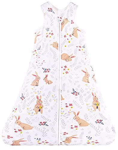 Chilsuessy Sommerschlafsack Baby Schlafsack Kleine Kinder Schlafanzug ohne Ärmel für Sommer und Frühling 100% Baumwolle (110/Baby Höhe 110-125cm, Süß Kaninchen)