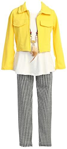 Toddler Girl 3 Pieces Outerwear Jacket Tank Top Legging Tight Pant Clothing Set Yellow 4 (22JK19S)