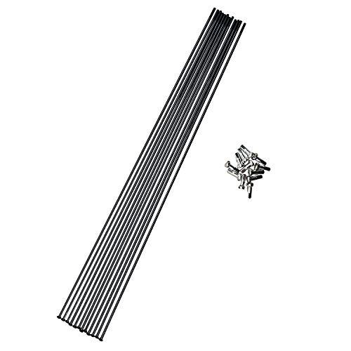 Positz Rennrad Speichen und Nippel, gerader Zug Edelstahl, Schwarz, 14 g / 2 mm, 12 Stück, 298mm