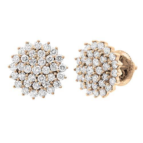 Dazzlingrock Collection Pendientes redondos de 3 quilates de diamantes blancos para mujer, oro rosa de 14 quilates