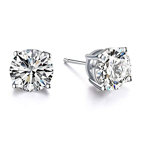 AOBOCO 18K White Gold Plated Hypoallergenic CZ Studs Earrings 925 Sterling Silver with Cubic Zirconia from Swarovski Stud Earrings Simulated Diamond Jewelry for Her (5mm White Gold Plated)