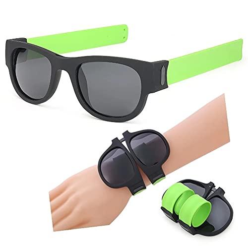 ERWEI Gafas de Sol de Pulsera, Gafas de Sol Plegables polarizadas Espejo polarizadas, Tonos de Pulsera Plegables Deportivos para Hombres/Mujeres/Adultos/niños,Verde