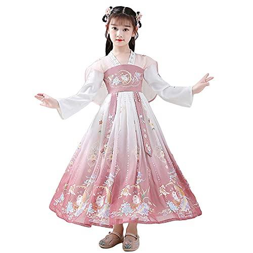 MYTY Hanfu para niñas, vestido de princesa tradicional chino, superhada, traje de otoño bordado Cheongsam, adecuado para Halloween, Navidad, fiestas, etc