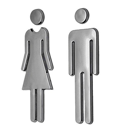 トイレ 表示 サイン案内プレート 標識 ホテル 店舗 洗面所 ステッカー WC看板 (男女セット)
