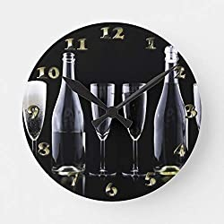 EnjoyHome New Years Day Champagne Toast Non Ticking Wall Clock Battery Operated Decorative Small Wooden Clock 10 inches