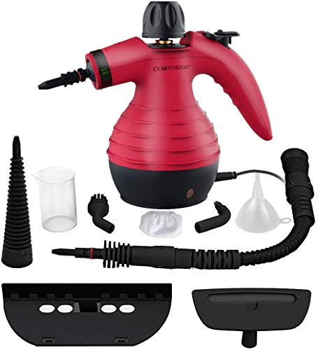 Comforday 9-Piece Accessories Multi-Purpose Handheld Steam Cleaner for Multi-Surface Stain Removal, Carpets, Curtains, Car Seats, Kitchen Surface, Red (UK Plug)