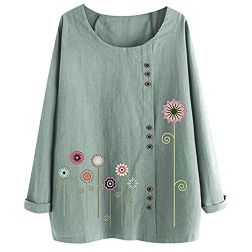 Shirt Women Novelty Round Neck Long Sleeve Solid Color Button Linen Ethnic Print Loose Stretch Beach Vacation Light Airy Shirt Autumn Winter Party All-Match Top M