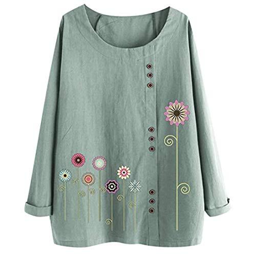 MENAB Tops Ladies Women Casual Floral Printed Button T Shirt Chiffon Irregular Hem Top Blouse Women's Long Sleeve Tops Twisted Sweatshirt Loose T Shirt Blouses Tunic Tops Ladies Floral Shirt