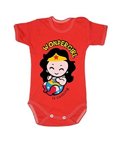 BColour Fashion Body Wonderwoman pour bébé, taille 24 mois, 100 % coton Red 6-9 months, 74 cm