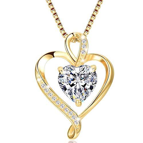 LAVUMO Collares Mujer Amor Colgante de Corazón Oro Rosa Plata de Ley 925 Collares de Mujer,Joyas Regalos para Esposa, Mamá, Novia, Cumpleaños Navidad Aniversario día de San Valentín Regalo(GD-04)