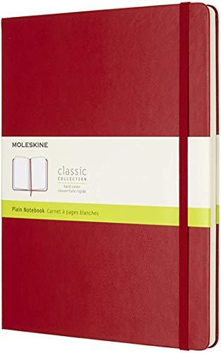 Moleskine - Cuaderno Clásico con Páginas Lisas, Tapa Dura y Goma Elástica, Color Rojo Escarlata, Tamaño Extra Grande 19 x 25 cm, 192 Páginas