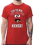 Karneval & Fasching - Ich tu nix. Ich Will nur Kekse! - weiß/schwarz - XXL - Rot - L190 - Herren T-Shirt und Männer Tshirt