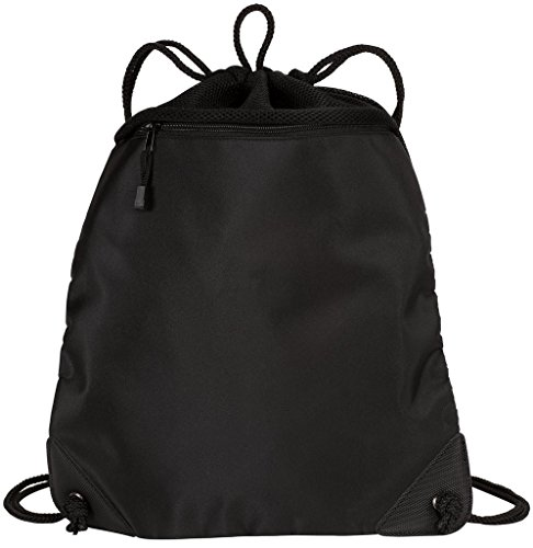 Drawstring Backpacks with Mesh Trim Heavy Duty Gym Sacks for Performance, Travel, Shopping (Black)